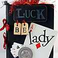 """""""Luck Be A Lady"""" altered card deck measuring 4"""" X 5.5"""""""