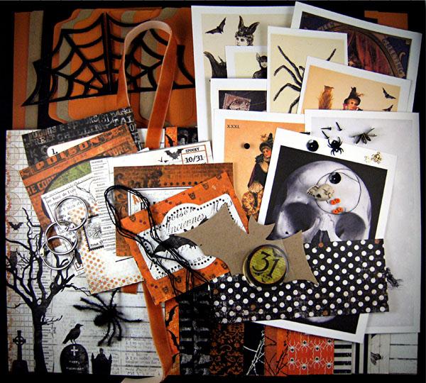 Halloween chipboard album kit