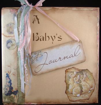 """A Baby's Journal"" an altered book album"