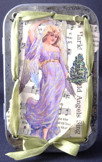 """Angel"" altered Altoid tin w/ accordion album"